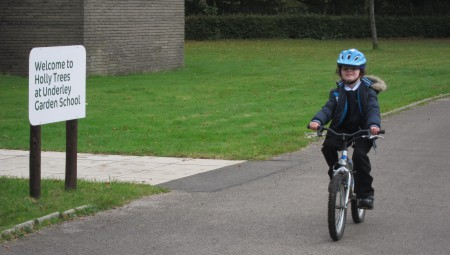 Young child riding a bike